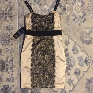 Bebe limited edition Italy satin lace dress S